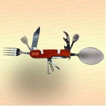 Нож многофункциональный складной, походный, 9 предметов, цвет ручки оранжевый