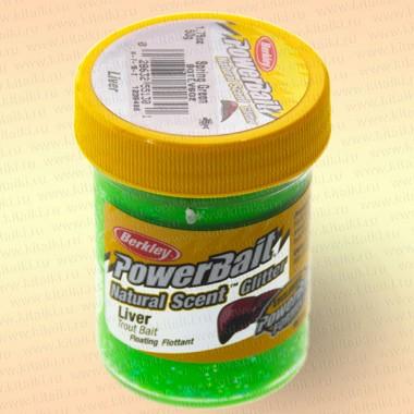 Форелевая паста Berkley Natural Scent Glitter Spring Green Liver, Печень