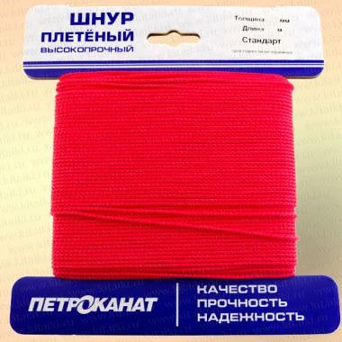 Шнур плетеный Стандарт, на карточке 3,1 мм, красный