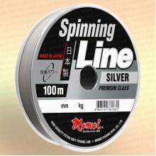 Леска для спиннинга Spinning Line, серебряная, 100 м 0,16 мм тест 3 кг
