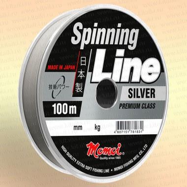 Леска для спиннинга Spinning Line, серебряная, 100 м 0,22 мм тест 5,5 кг