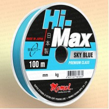 Леска рыболовная Hi-Max Sky Blue, голубая, 100 м 0,12 мм тест 1,6 кг