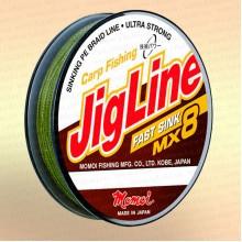 Плетенка JigLine Fast Sink 100 м, цвет - хаки, 0,18 мм, тест 12 кг