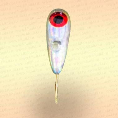 Мормышка для рыбалки фосфорная ДКО № 4 с флексом, белая