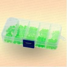 Бусинки фосфорные, зеленые, коробка 3 - 7 мм