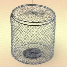 Кормушка 2,5 л металлическая сетка, оцинкованная, огруженная (h=21 см, d=165 мм)