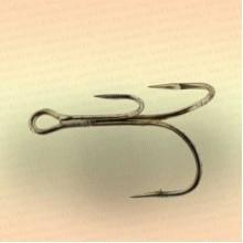 Крючки тройные на живца, номер 12 толщина 1,2 мм, длина 27 мм, уп 3 шт