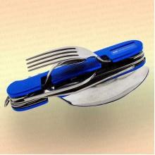 Нож многофункциональный складной, походный, 9 предметов, цвет ручки синий.