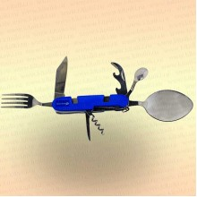Нож многофункциональный складной, походный, 7 предметов, цвет ручки синий.