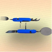 Нож многофункциональный складной, походный, 6 предметов, цвет ручки синий.