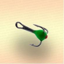 Тройник для зимней рыбалки № 16 с зеленой каплей