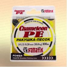 Шнур FANATIK Chameleon PE X4 100 м 0,20 мм, 10,8 кг. РАКУШКА-ПЕСОК св.-зеленая