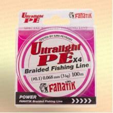 Шнур FANATIK UltraLight PE X4 100 м 0.068 мм, 3,0 кг Розовая