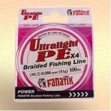 Шнур FANATIK UltraLight PE X4 100 м 0.086 мм, 4,0 кг Розовая