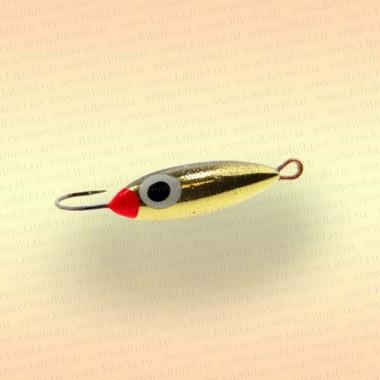 Блесна зимняя Пирс Дивенская, 1,5 гр, цвет латунь со светонакопителем