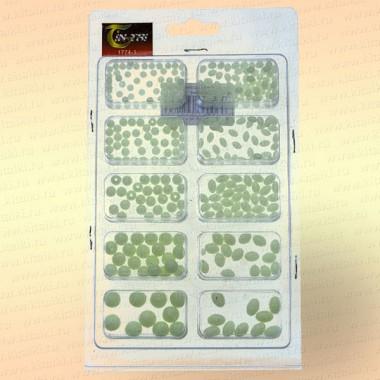 Бусинки фосфорные, белые, набор 4 - 8 мм
