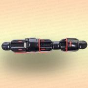 Катушкодержатель черный с красным, прорезиненный, 137 мм