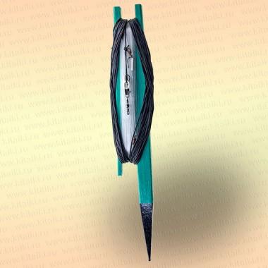 Донная удочка зеленая с черной резинкой, леска 50 м