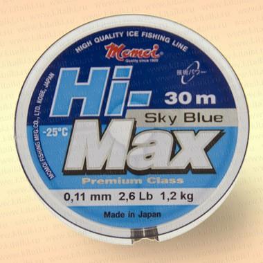 Леска рыболовная зимняя Hi-Max, голубая,  30 м 0,12 мм тест 1,6 кг