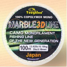 Леска рыболовная Tougflon Fishing Marble green 3D, 100 м, 0.18 мм, тест 6.18 кг