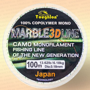 Леска рыболовная Tougflon Fishing Marble green 3D, 100 м, 0.16 мм, тест 5.32 кг