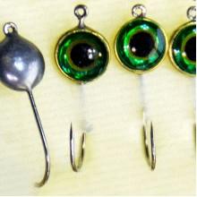 Мормышка металлическая, паяная № 29-ПЛ, крючок 8, зеленая