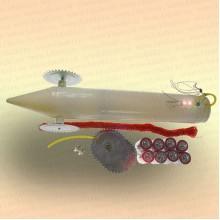 Набор: пластиковая торпеда, шнур, 8 батареек, 2 лампочки, колеса, амортизатор
