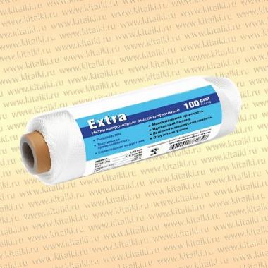 Нитка капроновая белая Extra, катушка 100 грамм 1,20 мм, 210d/24