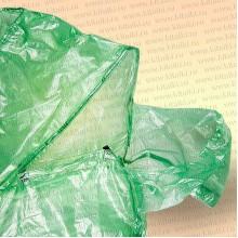 Плащ дождевик, полиэтиленовый, зеленый на липучках