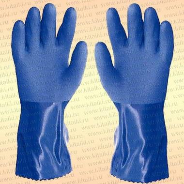 Перчатки ПВХ 9014 Fisherman, синие, длина 300 мм, размер XXXL