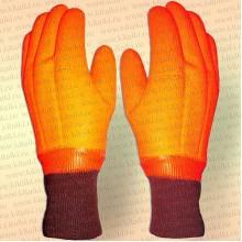 Перчатки утелпенные ПВХ Аляска 9000, манжета, оранжевые, размер XL