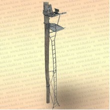 Лабаз с лестницей, приставной к дереву, высота 6,7 м