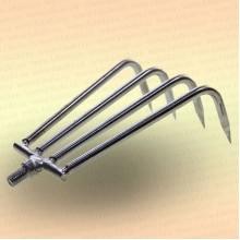 Донные грабли для расчистки места лова рыбы, 4 загнутых зуба, ручка 1.9 м.
