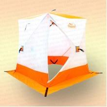 Палатка зимняя куб Следопыт 1,5х1,5х1,7 м, 2-местная, ткань Oxford 210D PU 1000, бело-оранжевая