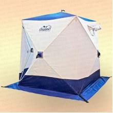 Палатка зимняя куб Следопыт 1,5х1,5х1,7 м, 2-местная, ткань Oxford 210D PU 1000, бело-синяя