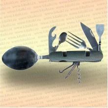 Нож многофункциональный складной, походный, 9 предметов, цвет ручки черный