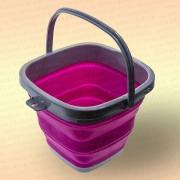 Складное ведро для рыбалки, квадратное, розовое, 5 литров