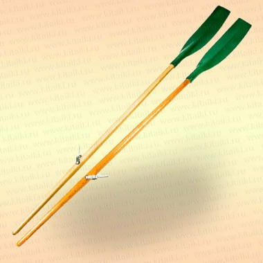 Весла (пара) деревянные гребные 2,2 м, усиленная изогнутая лопасть